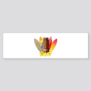Tiki and Surfboards Bumper Sticker