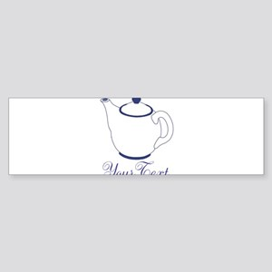 Personalizable Blue Tea Pot Bumper Sticker