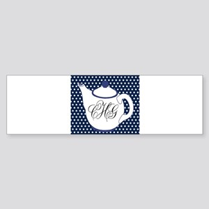 Personalizable Teapot Monogram Bumper Sticker