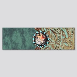 Country Western turquoise leather Bumper Sticker