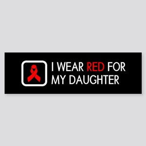 Red Ribbon: Red for my Daughter Sticker (Bumper)