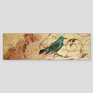 teal bird vintage roses swirls bota Bumper Sticker