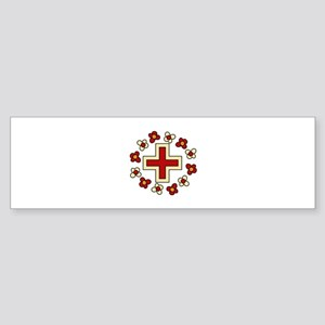 Floral Red Cross Bumper Sticker