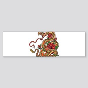 Decorated Cobra Snake with Roses Bumper Sticker