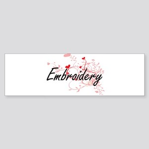 Embroidery Artistic Design with Hea Bumper Sticker