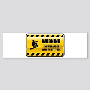 Warning Snowboarder Bumper Sticker