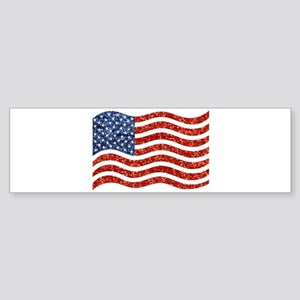 sequin american flag Bumper Sticker