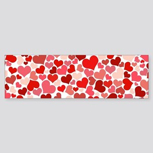 Abstract Red and Pink Hearts Patter Bumper Sticker