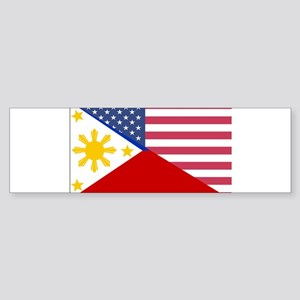 Half Philippines Half American Flag Bumper Sticker