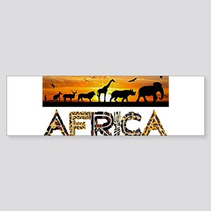 AFRICA TEXT and Animals Against Sun Bumper Sticker