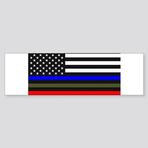 Thin Blue Line Decal - USA Flag Red Bumper Sticker