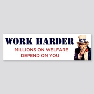 Work Harder Bumper Sticker
