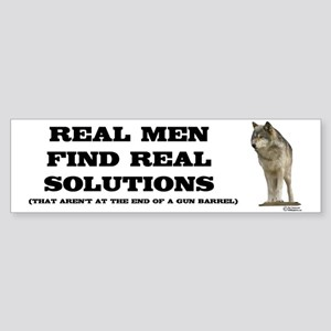 """Real Men"" Wolf Bumper Sticker"