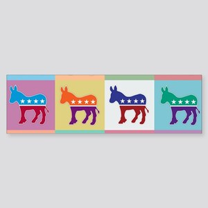 Pop Art Democrat Donkey Logo Bumper Sticker