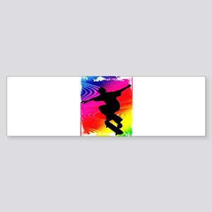 Rainbow Grunge Skateboarder Sticker (Bumper)