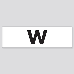 Letter W Black Bumper Sticker