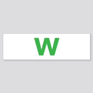 Letter W Green Bumper Sticker