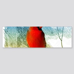 watercolor winter red cardinal Bumper Sticker