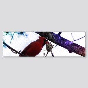 winter trees red cardinal Bumper Sticker