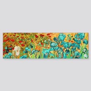 van gogh teal irises Bumper Sticker