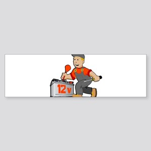 Electrician with 12 volts battery Bumper Sticker