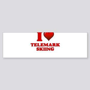I Love Telemark Skiing Bumper Sticker