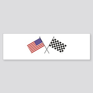 American-Checker Flag Bumper Sticker