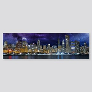 Spacey Chicago Skyline Bumper Sticker