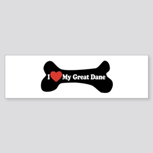 I Love My Great Dane - Dog Bone Sticker (Bumper)