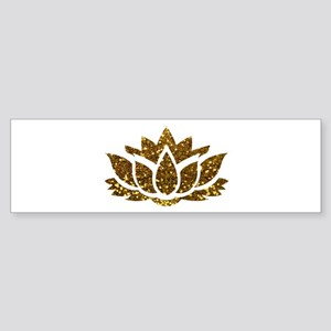 Gold Glitter Lotus Bumper Sticker