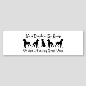 Life is Simple For Great Dane Dog P Bumper Sticker