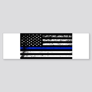 Horizontal style police flag Bumper Sticker