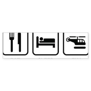 eatSleepFlyHeli1A Sticker (Bumper)