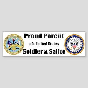 Proud Parent of a U.S. Soldier and Sailor Sticker