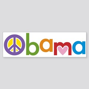 Peace, Love, Obama Sticker (Bumper)