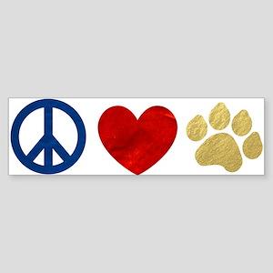Peace Love Paw Print Sticker (Bumper)