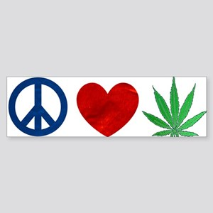 Peace Love Weed Bumper Sticker
