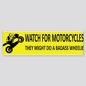 Watch For Motorcycles (Yellow) Bumper Sticker