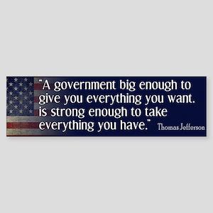 Jefferson: government big enough to... Sticker (Bu