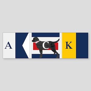 Preppy Lab Dog ACK Signal Flag Bumper Sticker