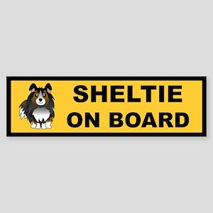Sheltie on Board (tri color) Bumper Sticker