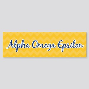 Alpha Omega Epsilon Gold Sticker (Bumper)