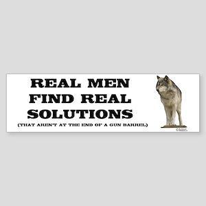 """Real Men"" Wolf Bumper Sticker"