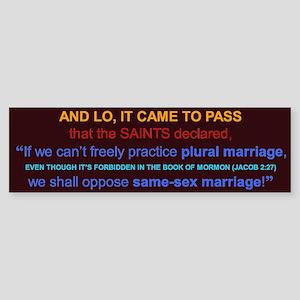 Oppose Same-Sex Marriage Bumper Sticker