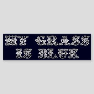 Silver Dollar My Grass Is Blue Sticker (Bumper)
