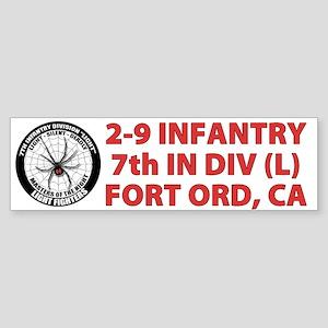 White 2-9 Infantry Sticker (Bumper)