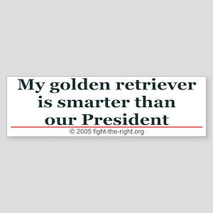 My golden retriever is smarter (bumper sticker)