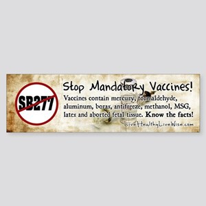 Stop Mandatory Vaccines Sticker (Bumper)