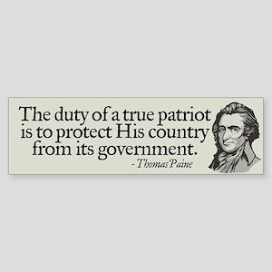Paine on Patriotism Bumper Sticker