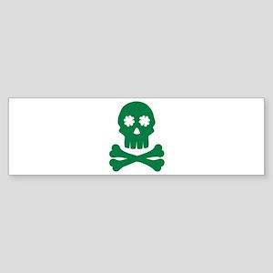 Irish shamrock skull Sticker (Bumper)